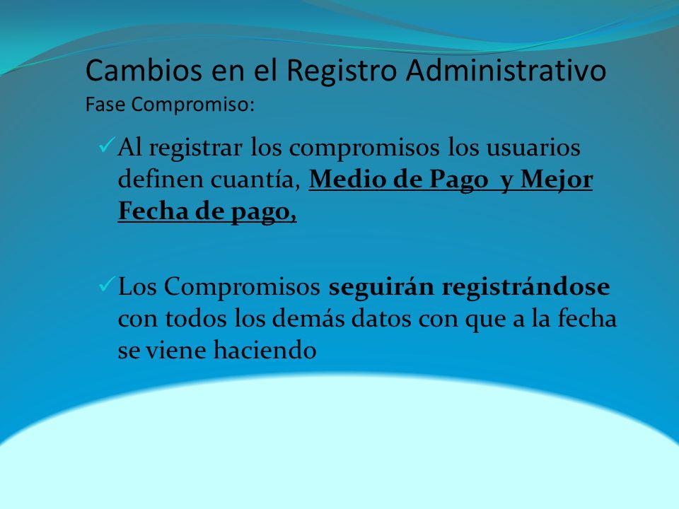 Cambios en el Registro Administrativo Fase Compromiso: Al registrar los compromisos los usuarios definen cuantía, Medio de Pago y Mejor Fecha de pago, Los Compromisos seguirán registrándose con todos los demás datos con que a la fecha se viene haciendo