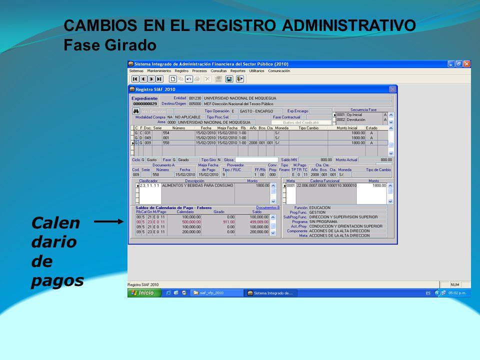 CAMBIOS EN EL REGISTRO ADMINISTRATIVO Fase Girado Calen dario de pagos
