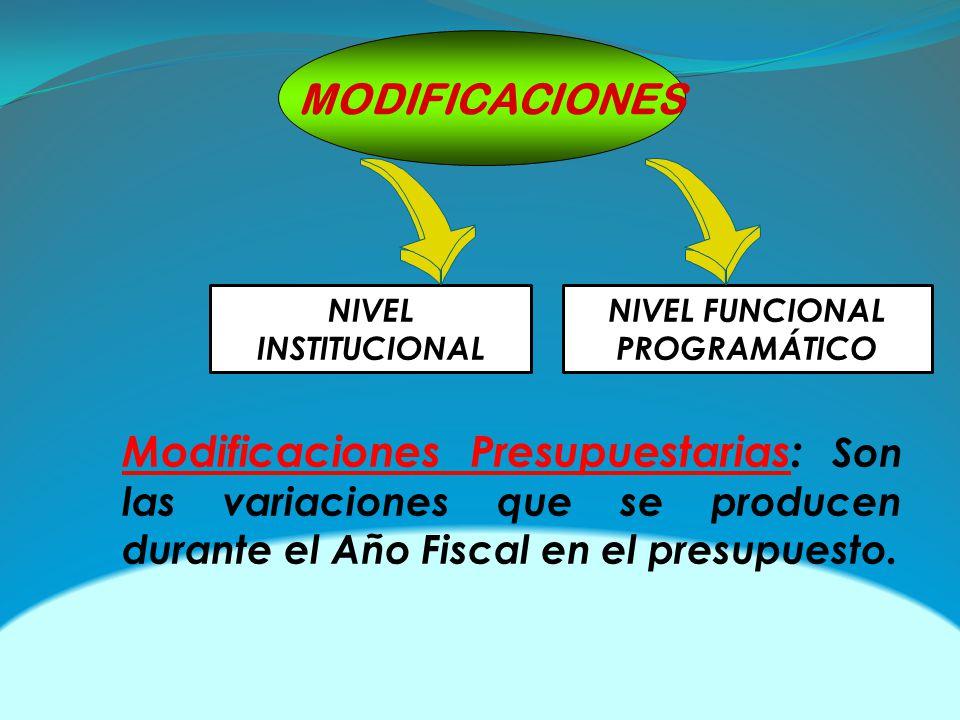 MODIFICACIONES Modificaciones Presupuestarias: Son las variaciones que se producen durante el Año Fiscal en el presupuesto. NIVEL INSTITUCIONAL NIVEL