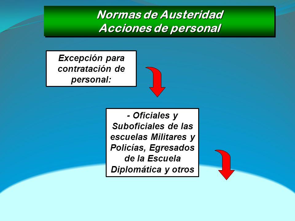 Normas de Austeridad Acciones de personal Normas de Austeridad Acciones de personal Excepción para contratación de personal: - Oficiales y Suboficiale