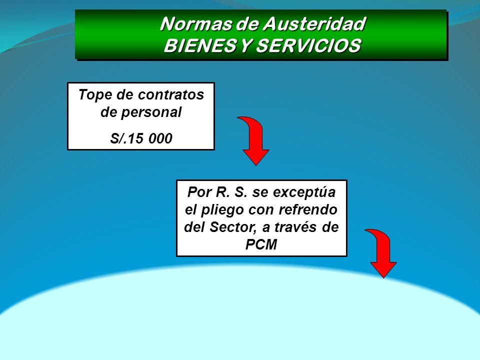 Normas de Austeridad BIENES Y SERVICIOS Normas de Austeridad BIENES Y SERVICIOS Tope de contratos de personal S/.15 000 Por R. S. se exceptúa el plieg