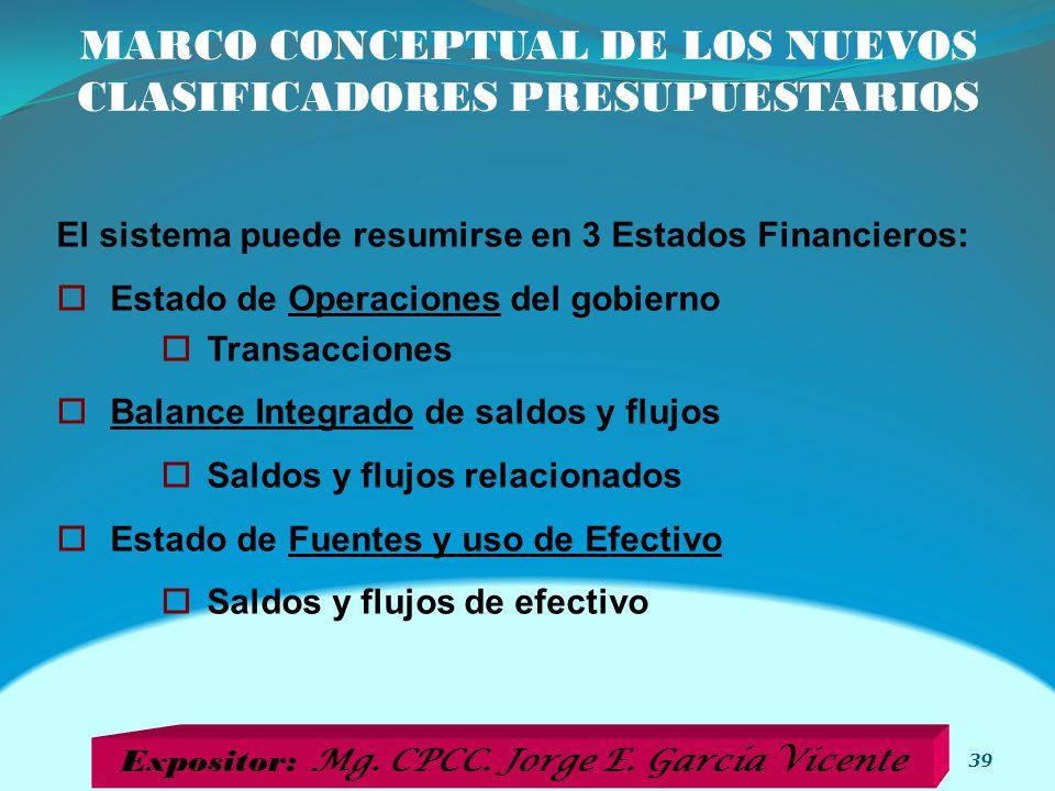 MARCO CONCEPTUAL DE LOS NUEVOS CLASIFICADORES PRESUPUESTARIOS 39 El sistema puede resumirse en 3 Estados Financieros: Estado de Operaciones del gobier
