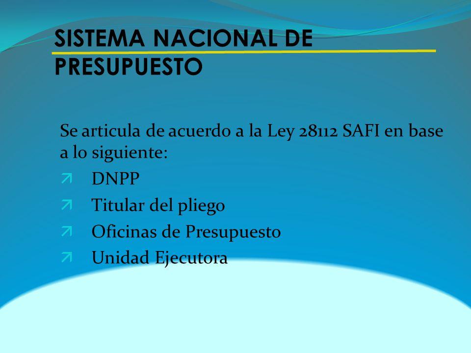 SISTEMA NACIONAL DE PRESUPUESTO Se articula de acuerdo a la Ley 28112 SAFI en base a lo siguiente: ä DNPP ä Titular del pliego ä Oficinas de Presupues