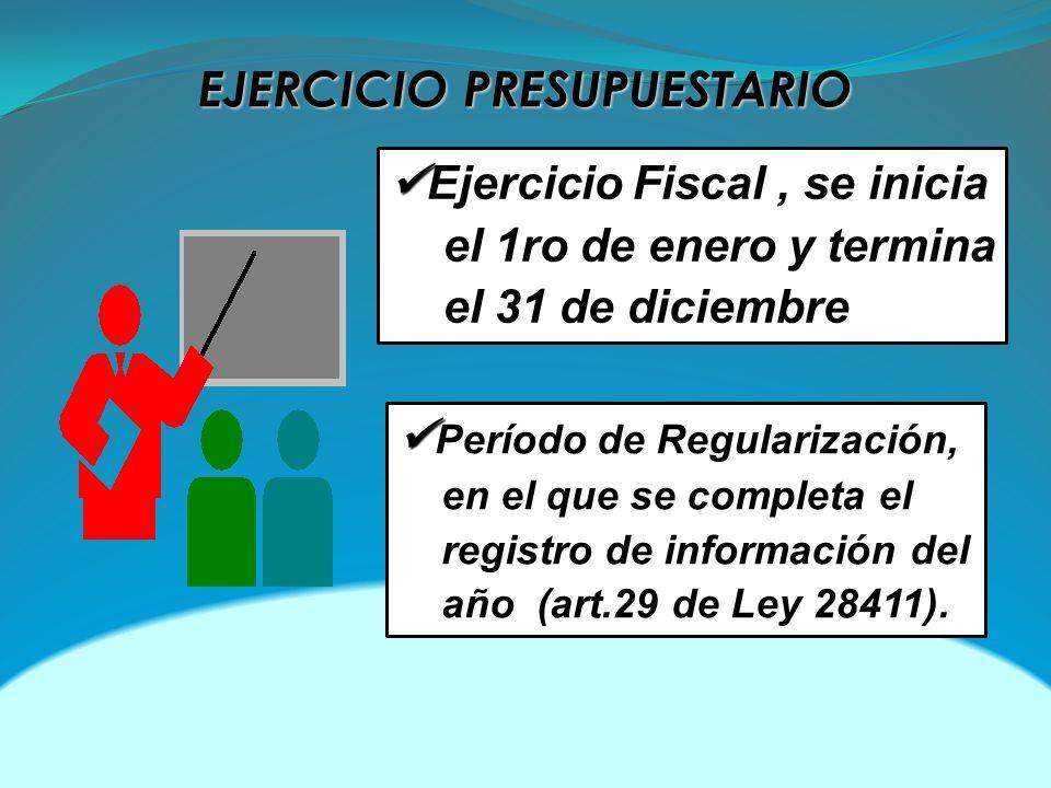 EJERCICIO PRESUPUESTARIO Ejercicio Fiscal, se inicia el 1ro de enero y termina el 31 de diciembre Período de Regularización, en el que se completa el registro de información del año (art.29 de Ley 28411).