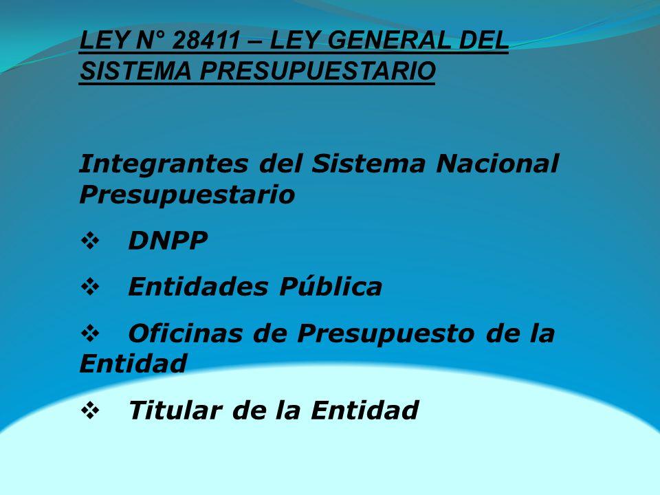 LEY N° 28411 – LEY GENERAL DEL SISTEMA PRESUPUESTARIO Integrantes del Sistema Nacional Presupuestario DNPP Entidades Pública Oficinas de Presupuesto de la Entidad Titular de la Entidad