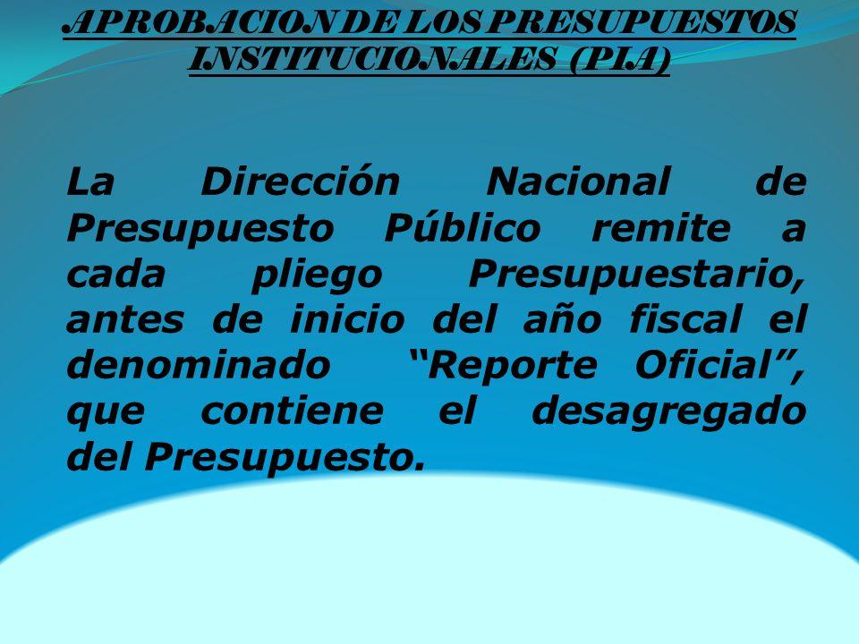 La Dirección Nacional de Presupuesto Público remite a cada pliego Presupuestario, antes de inicio del año fiscal el denominado Reporte Oficial, que contiene el desagregado del Presupuesto.