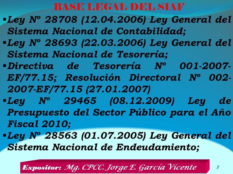 BASE LEGAL DEL SIAF 7 Ley Nº 28708 (12.04.2006) Ley General del Sistema Nacional de Contabilidad; Ley Nº 28693 (22.03.2006) Ley General del Sistema Nacional de Tesorería; Directiva de Tesorería Nº 001-2007- EF/77.15; Resolución Directoral Nº 002- 2007-EF/77.15 (27.01.2007) Ley Nº 29465 (08.12.2009) Ley de Presupuesto del Sector Público para el Año Fiscal 2010; Ley Nº 28563 (01.07.2005) Ley General del Sistema Nacional de Endeudamiento; Expositor: Mg.