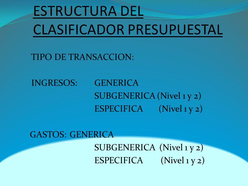 ESTRUCTURA DEL CLASIFICADOR PRESUPUESTAL TIPO DE TRANSACCION: INGRESOS: GENERICA SUBGENERICA (Nivel 1 y 2) ESPECIFICA (Nivel 1 y 2) GASTOS:GENERICA SUBGENERICA (Nivel 1 y 2) ESPECIFICA (Nivel 1 y 2)