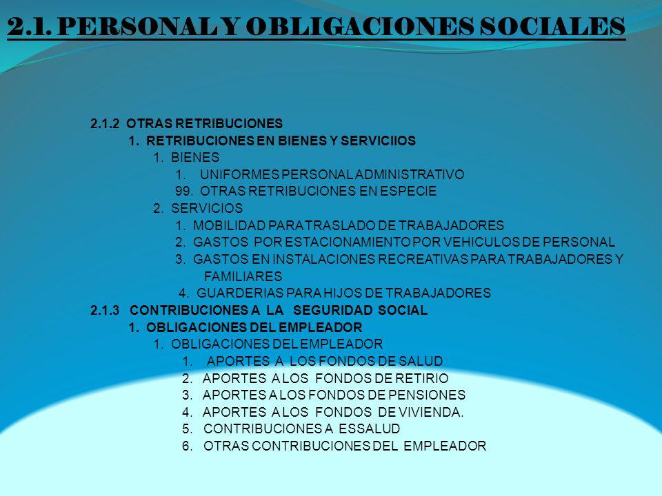 2.1.PERSONAL Y OBLIGACIONES SOCIALES 2.1.2 OTRAS RETRIBUCIONES 1.