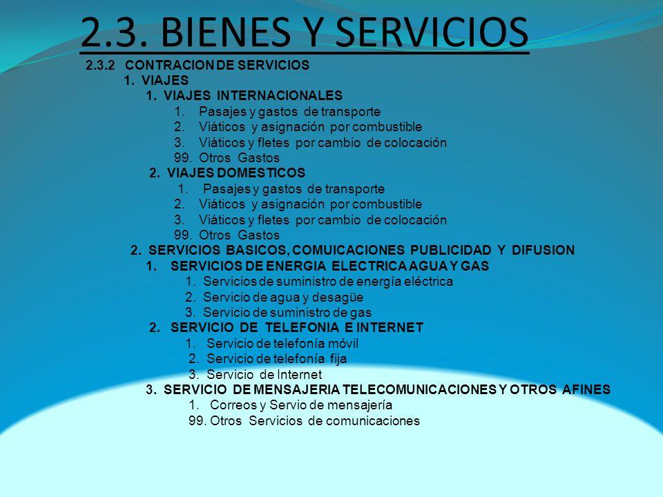 2.3. BIENES Y SERVICIOS 2.3.2 CONTRACION DE SERVICIOS 1. VIAJES 1. VIAJES INTERNACIONALES 1. Pasajes y gastos de transporte 2. Viáticos y asignación p