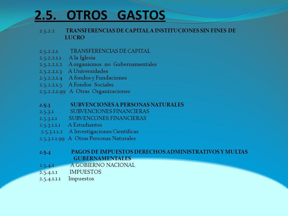 2.5. OTROS GASTOS 2.5.2.2 TRANSFERENCIAS DE CAPITAL A INSTITUCIONES SIN FINES DE LUCRO 2.5.2.2.1 TRANSFERENCIAS DE CAPITAL 2.5.2.2.1.1 A la Iglesia 2.
