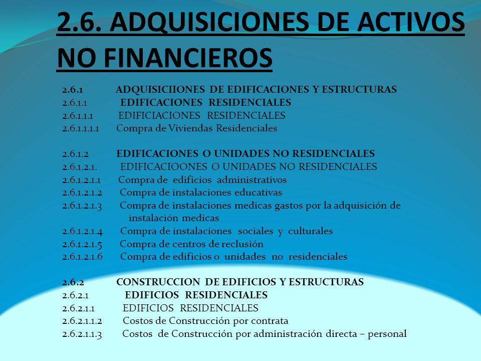 2.6. ADQUISICIONES DE ACTIVOS NO FINANCIEROS 2.6.1 ADQUISICIIONES DE EDIFICACIONES Y ESTRUCTURAS 2.6.1.1 EDIFICACIONES RESIDENCIALES 2.6.1.1.1 EDIFICI