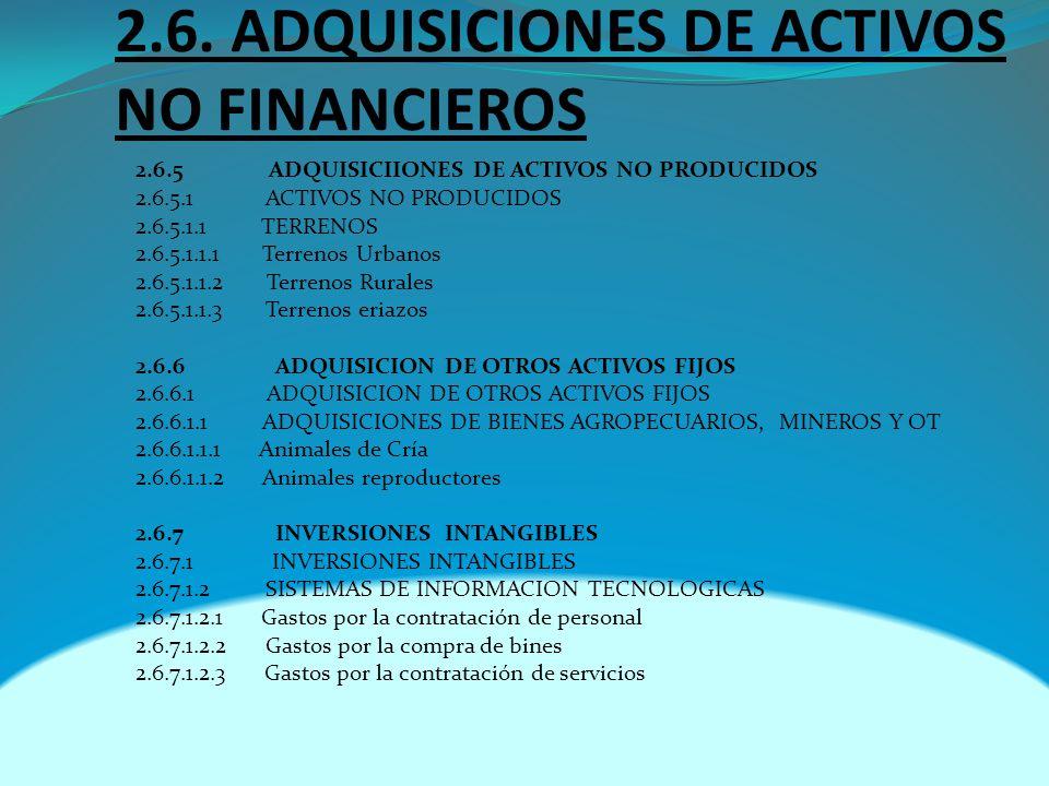 2.6. ADQUISICIONES DE ACTIVOS NO FINANCIEROS 2.6.5 ADQUISICIIONES DE ACTIVOS NO PRODUCIDOS 2.6.5.1 ACTIVOS NO PRODUCIDOS 2.6.5.1.1 TERRENOS 2.6.5.1.1.