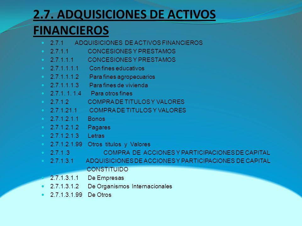 2.7. ADQUISICIONES DE ACTIVOS FINANCIEROS 2.7.1 ADQUISICIONES DE ACTIVOS FINANCIEROS 2.7.1.1 CONCESIONES Y PRESTAMOS 2.7.1.1.1 CONCESIONES Y PRESTAMOS