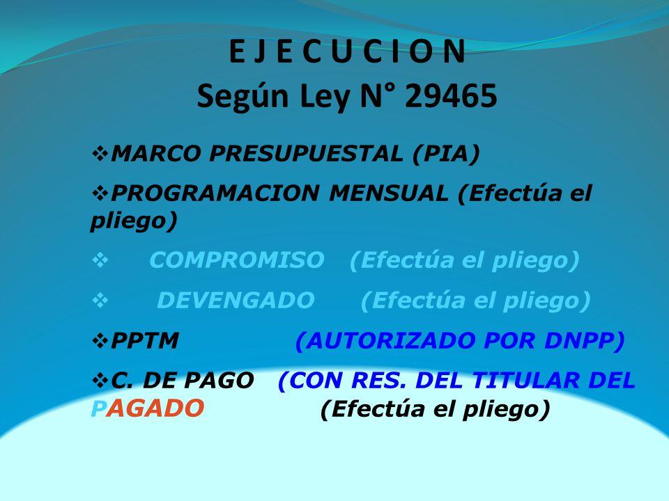 MARCO PRESUPUESTAL (PIA) PROGRAMACION MENSUAL (Efectúa el pliego) COMPROMISO (Efectúa el pliego) DEVENGADO (Efectúa el pliego) PPTM (AUTORIZADO POR DNPP) C.