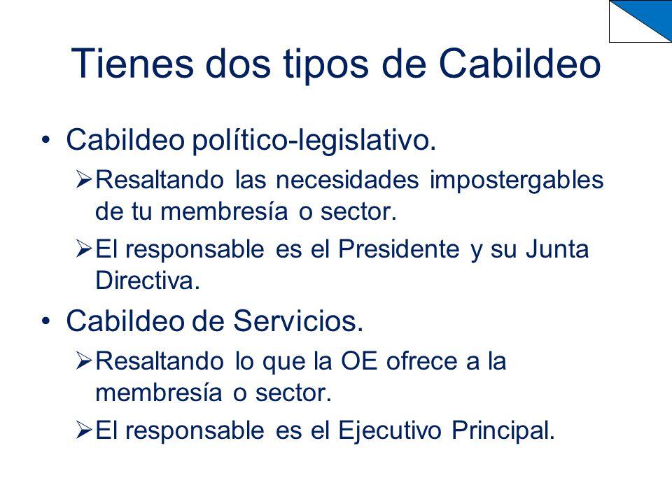 Tienes dos tipos de Cabildeo Cabildeo político-legislativo.