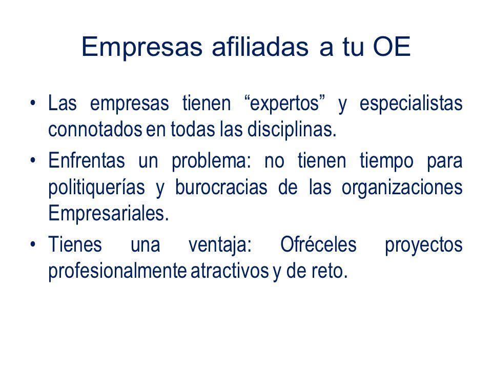 Empresas afiliadas a tu OE Las empresas tienen expertos y especialistas connotados en todas las disciplinas.
