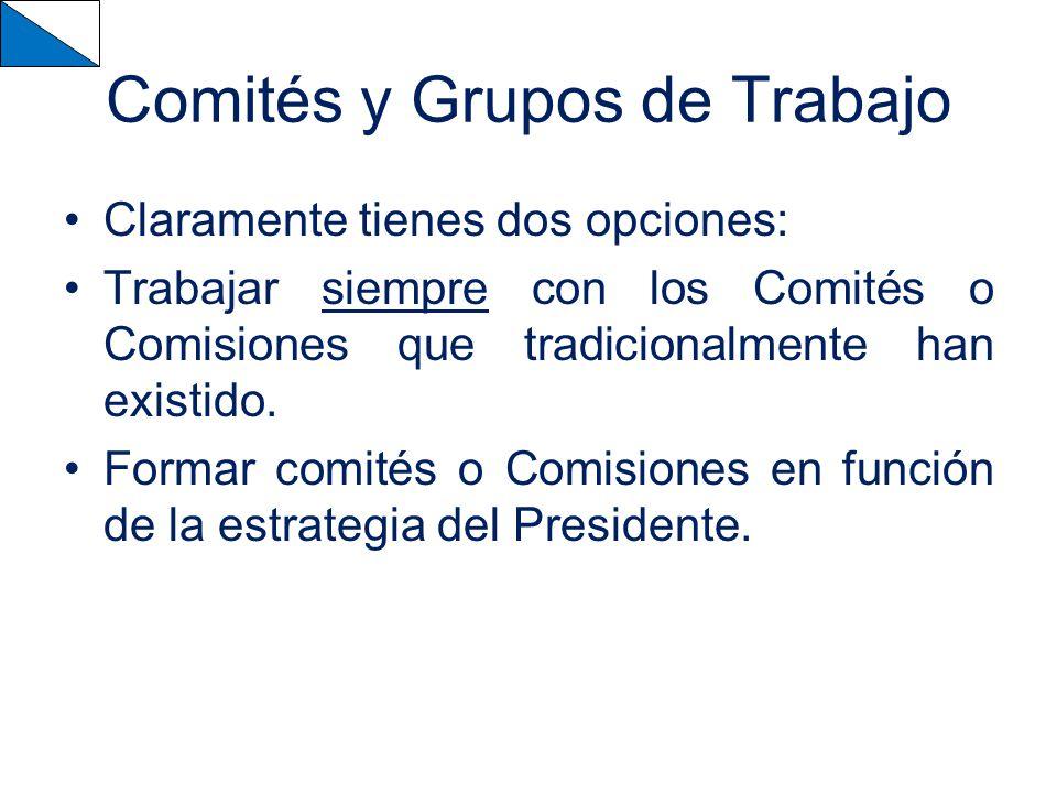 Comités y Grupos de Trabajo Claramente tienes dos opciones: Trabajar siempre con los Comités o Comisiones que tradicionalmente han existido.