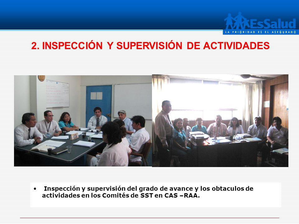 Inspección y supervisión del grado de avance y los obtaculos de actividades en los Comités de SST en CAS –RAA. 2. INSPECCIÓN Y SUPERVISIÓN DE ACTIVIDA