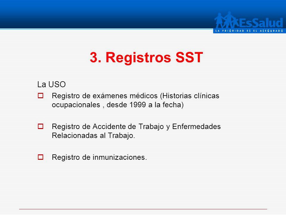 La USO Registro de exámenes médicos (Historias clínicas ocupacionales, desde 1999 a la fecha) Registro de Accidente de Trabajo y Enfermedades Relacion