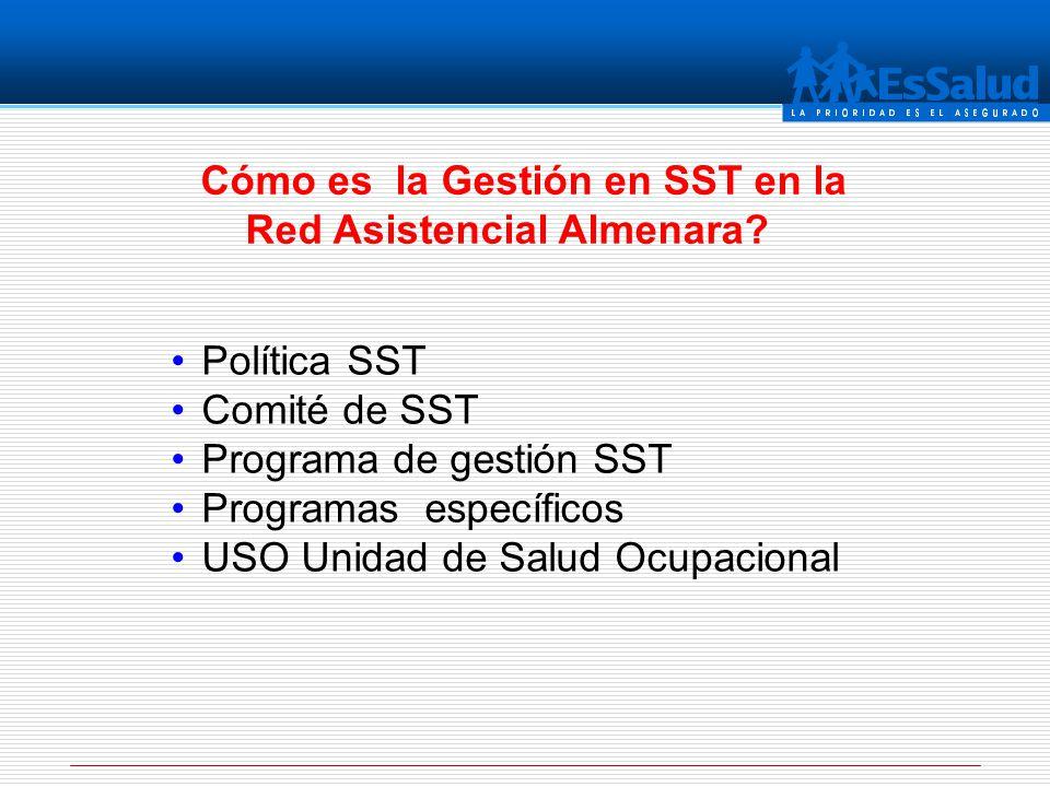 Cómo es la Gestión en SST en la Red Asistencial Almenara? Política SST Comité de SST Programa de gestión SST Programas específicos USO Unidad de Salud