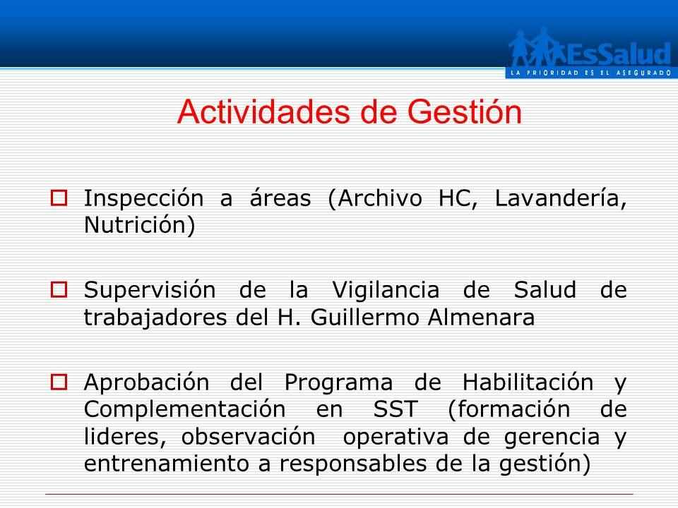 Inspección a áreas (Archivo HC, Lavandería, Nutrición) Supervisión de la Vigilancia de Salud de trabajadores del H. Guillermo Almenara Aprobación del