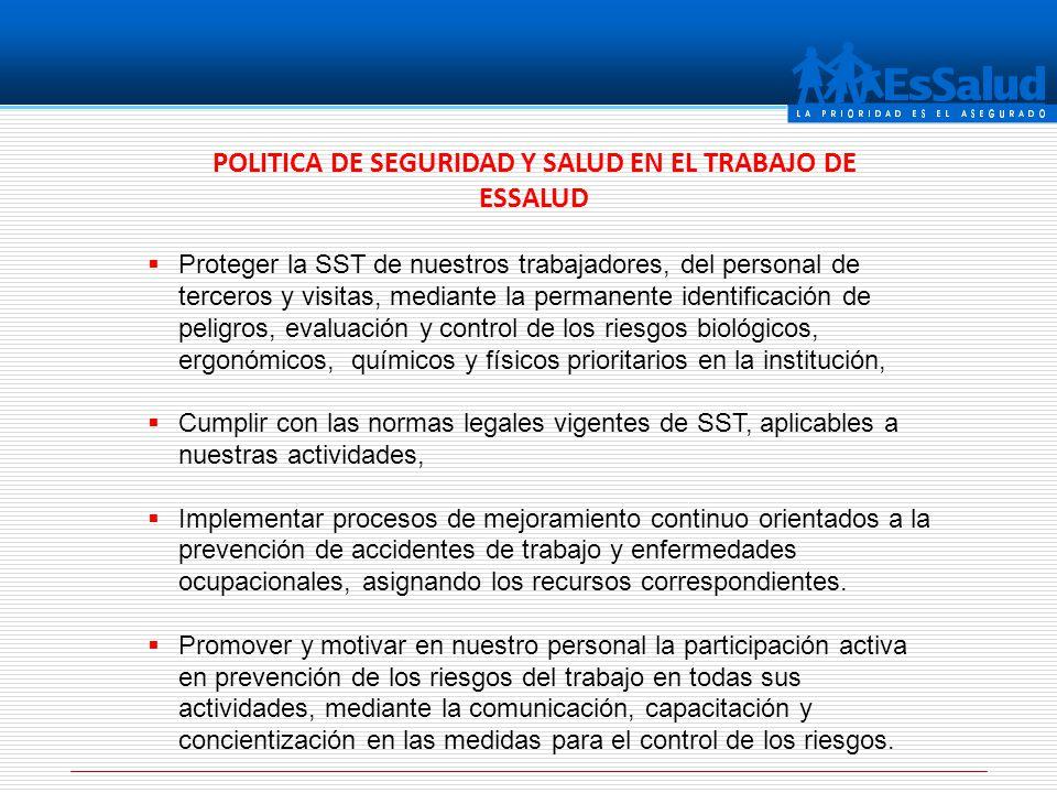 Proteger la SST de nuestros trabajadores, del personal de terceros y visitas, mediante la permanente identificación de peligros, evaluación y control