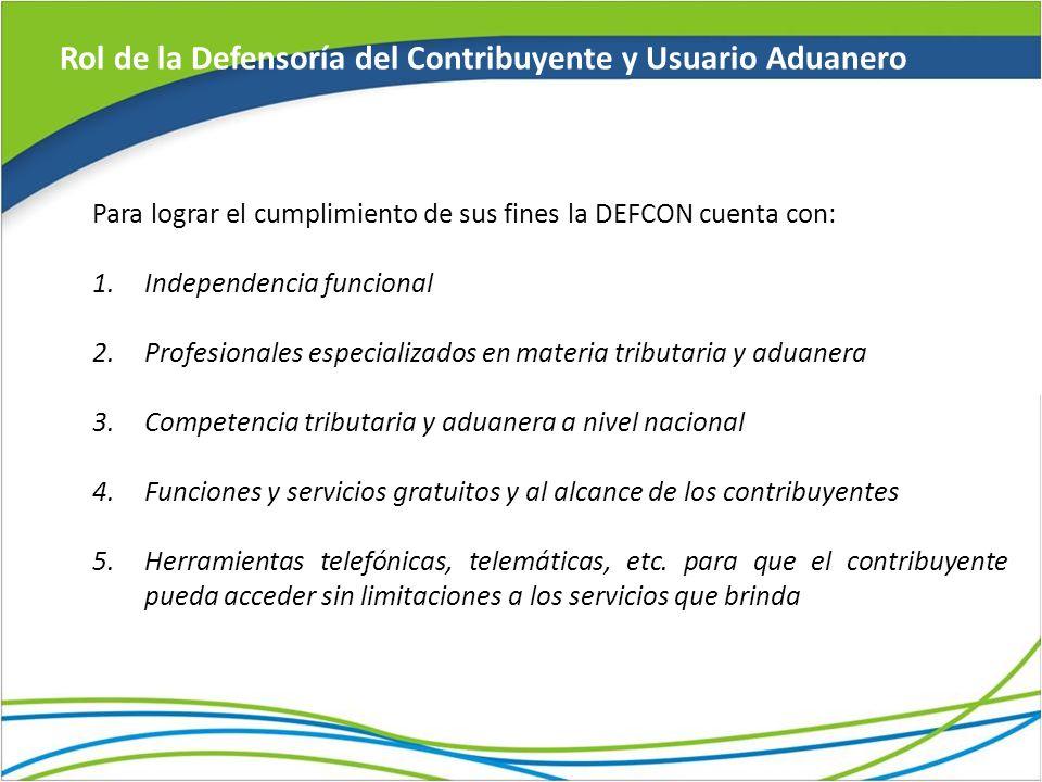Rol de la Defensoría del Contribuyente y Usuario Aduanero Para lograr el cumplimiento de sus fines la DEFCON cuenta con: 1.Independencia funcional 2.P
