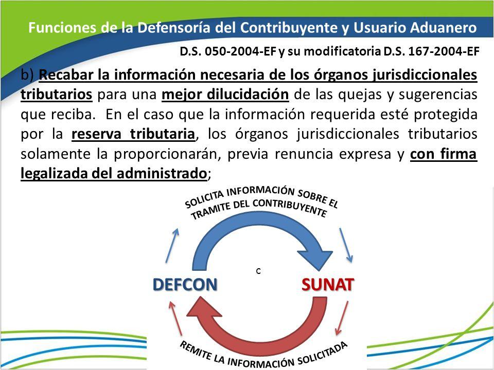 Funciones de la Defensoría del Contribuyente y Usuario Aduanero b) Recabar la información necesaria de los órganos jurisdiccionales tributarios para u