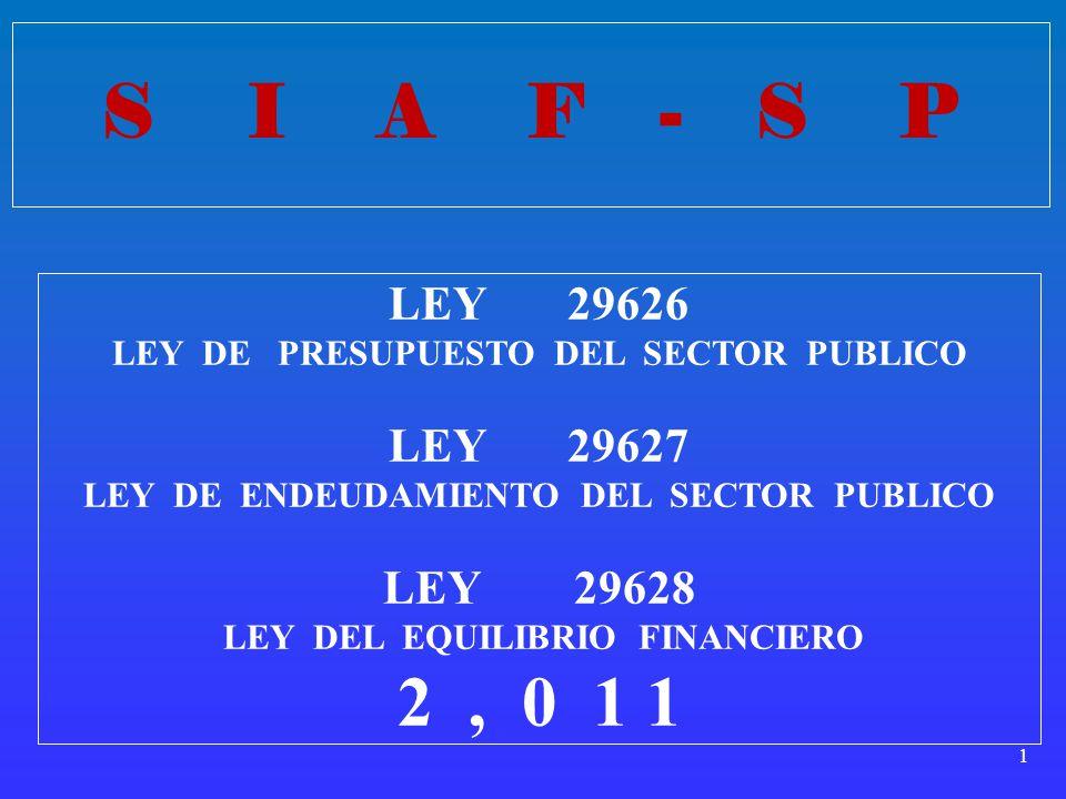1 LEY 29626 LEY DE PRESUPUESTO DEL SECTOR PUBLICO LEY 29627 LEY DE ENDEUDAMIENTO DEL SECTOR PUBLICO LEY 29628 LEY DEL EQUILIBRIO FINANCIERO 2, 0 1 1 S