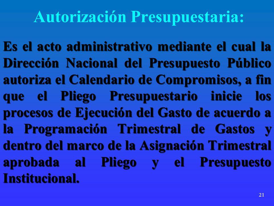 21 Autorización Presupuestaria: Es el acto administrativo mediante el cual la Dirección Nacional del Presupuesto Público autoriza el Calendario de Com