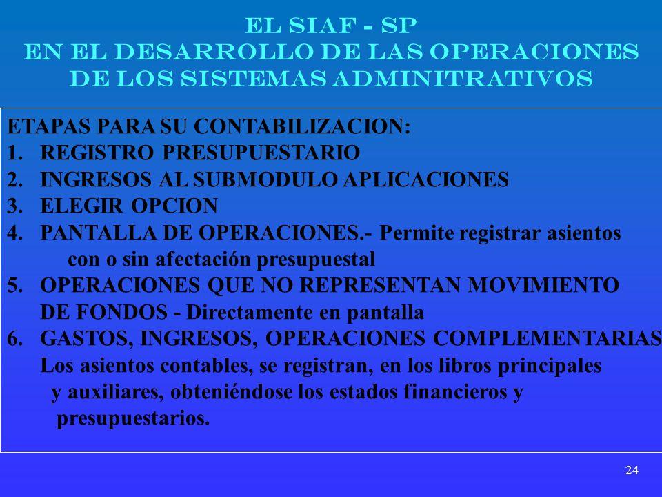 24 EL SIAF - SP EN EL DESARROLLO DE LAS OPERACIONES DE LOS SISTEMAS ADMINITRATIVOS ETAPAS PARA SU CONTABILIZACION: 1.REGISTRO PRESUPUESTARIO 2.INGRESO