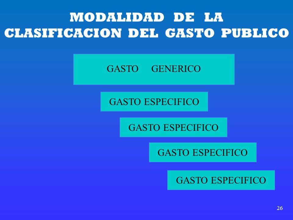 26 MODALIDAD DE LA CLASIFICACION DEL GASTO PUBLICO GASTO GENERICO GASTO ESPECIFICO