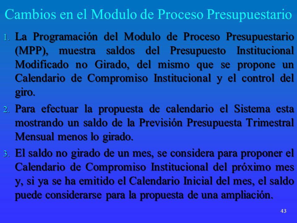 Cambios en el Modulo de Proceso Presupuestario 1. La Programación del Modulo de Proceso Presupuestario (MPP), muestra saldos del Presupuesto Instituci
