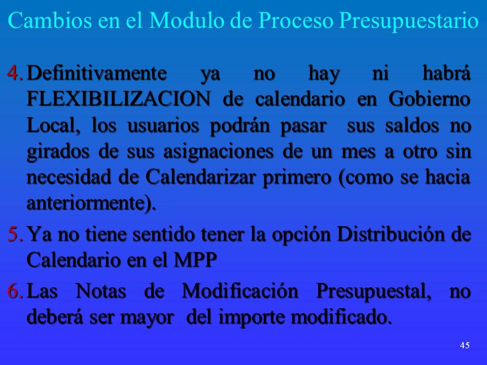 Cambios en el Modulo de Proceso Presupuestario 4.Definitivamente ya no hay ni habrá FLEXIBILIZACION de calendario en Gobierno Local, los usuarios podr