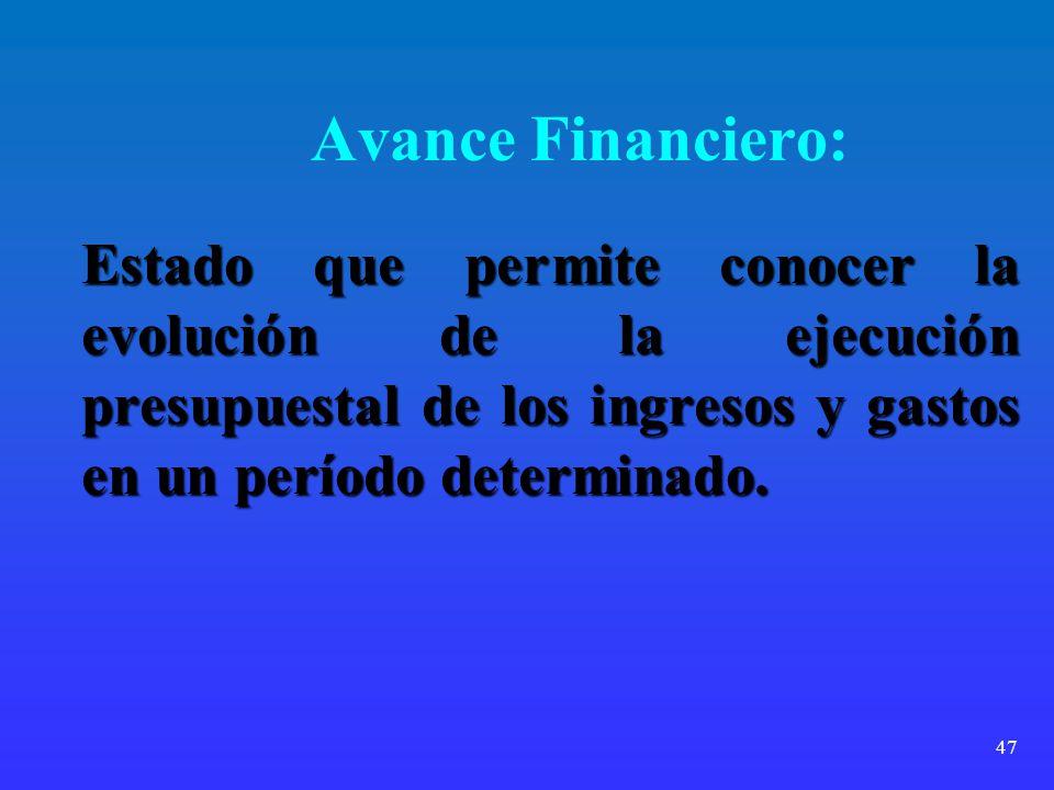 47 Avance Financiero: Estado que permite conocer la evolución de la ejecución presupuestal de los ingresos y gastos en un período determinado.