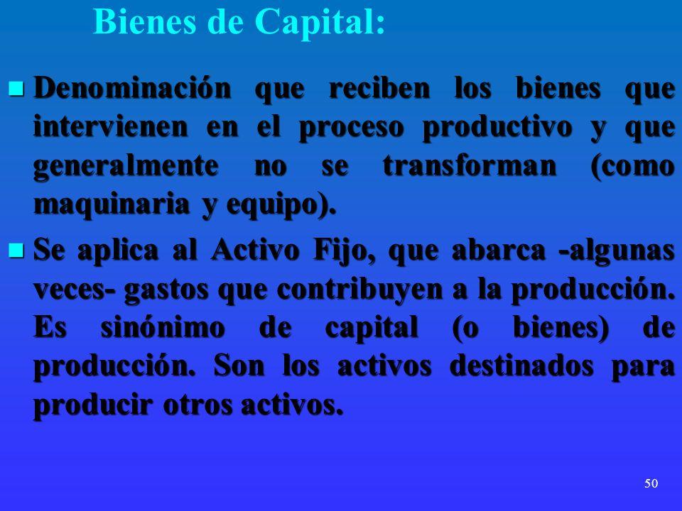 50 Bienes de Capital: Denominación que reciben los bienes que intervienen en el proceso productivo y que generalmente no se transforman (como maquinar