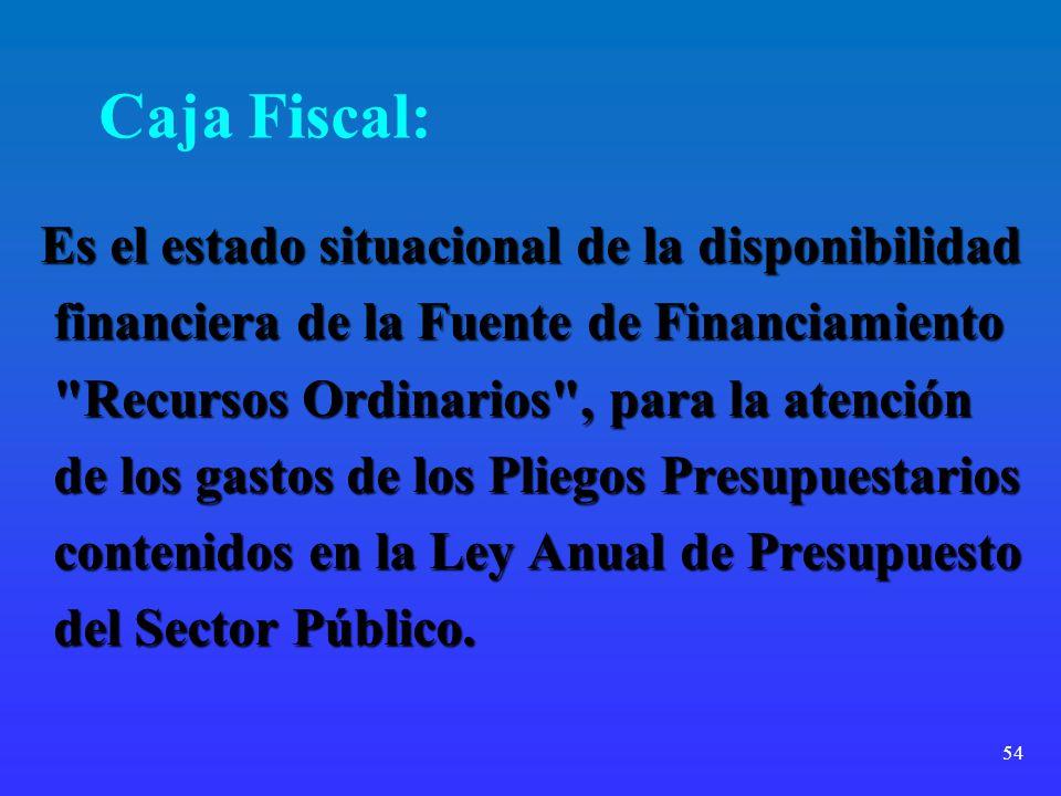 54 Caja Fiscal: Es el estado situacional de la disponibilidad financiera de la Fuente de Financiamiento financiera de la Fuente de Financiamiento
