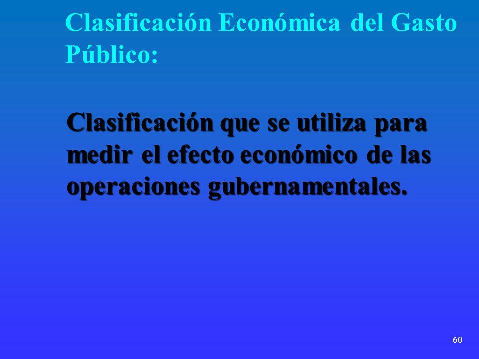 60 Clasificación Económica del Gasto Público: Clasificación que se utiliza para medir el efecto económico de las operaciones gubernamentales.