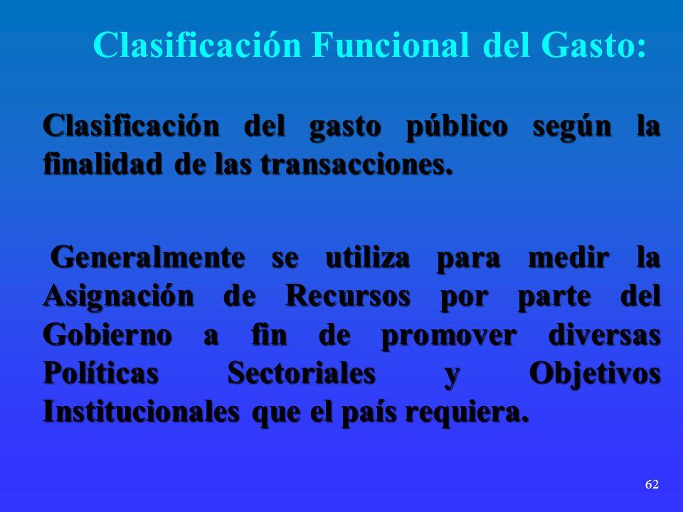 62 Clasificación Funcional del Gasto: Clasificación del gasto público según la finalidad de las transacciones. Generalmente se utiliza para medir la A