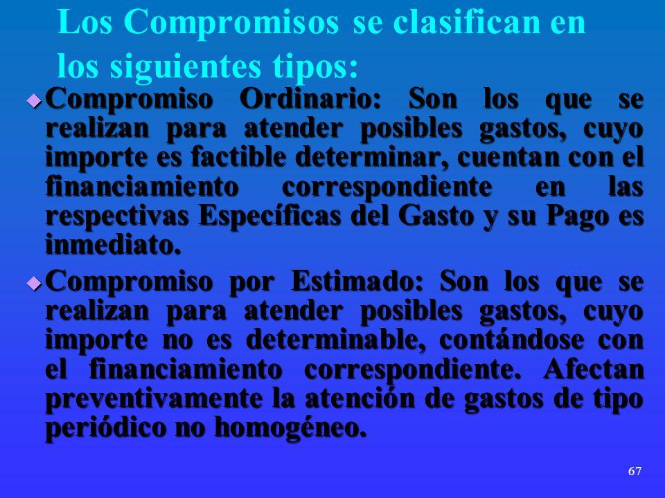 67 Los Compromisos se clasifican en los siguientes tipos: Compromiso Ordinario: Son los que se realizan para atender posibles gastos, cuyo importe es