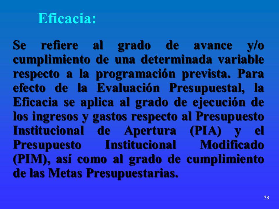 73 Eficacia: Se refiere al grado de avance y/o cumplimiento de una determinada variable respecto a la programación prevista. Para efecto de la Evaluac