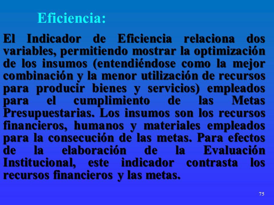 75 Eficiencia: El Indicador de Eficiencia relaciona dos variables, permitiendo mostrar la optimización de los insumos (entendiéndose como la mejor com