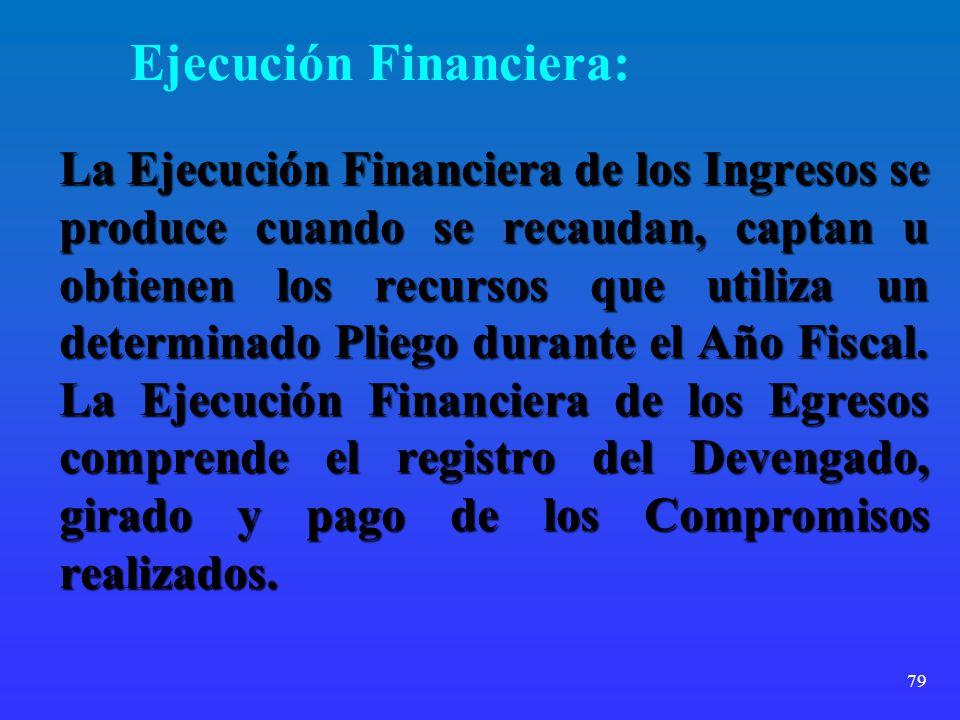 79 Ejecución Financiera: La Ejecución Financiera de los Ingresos se produce cuando se recaudan, captan u obtienen los recursos que utiliza un determin