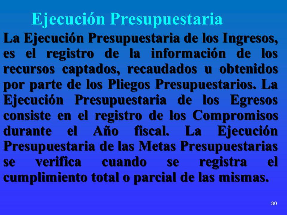 80 Ejecución Presupuestaria La Ejecución Presupuestaria de los Ingresos, es el registro de la información de los recursos captados, recaudados u obten