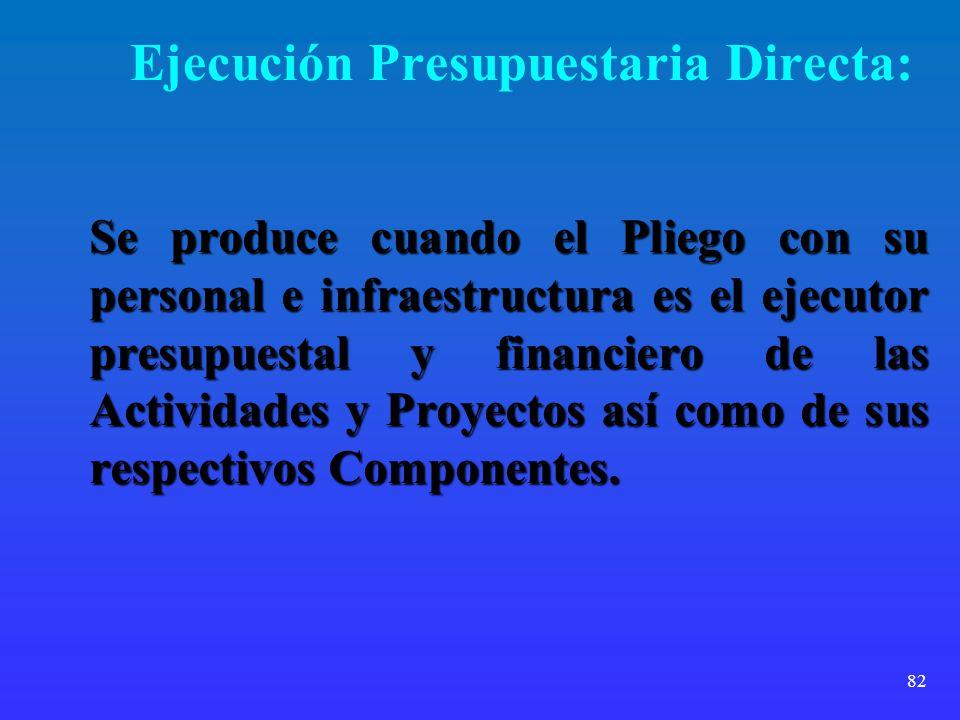 82 Ejecución Presupuestaria Directa: Se produce cuando el Pliego con su personal e infraestructura es el ejecutor presupuestal y financiero de las Act