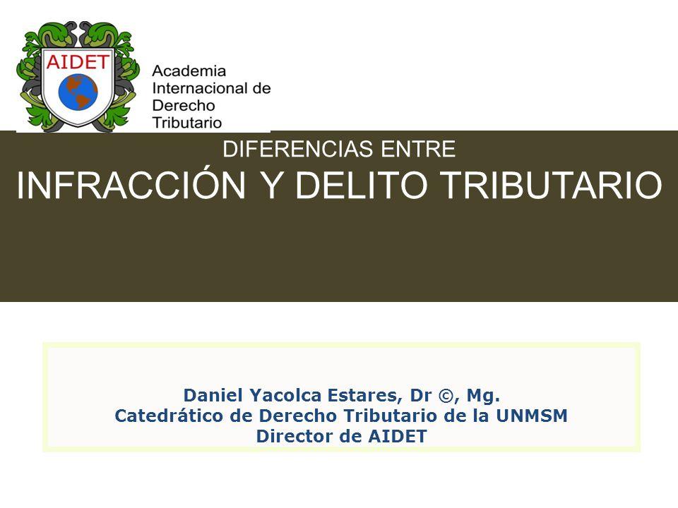 DIFERENCIAS ENTRE INFRACCIÓN Y DELITO TRIBUTARIO Daniel Yacolca Estares, Dr ©, Mg.