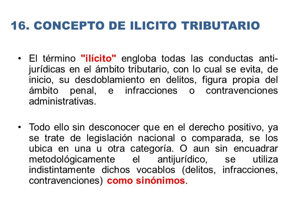 El término ilícito engloba todas las conductas anti jurídicas en el ámbito tributario, con lo cual se evita, de inicio, su desdoblamiento en delitos, figura propia del ámbito penal, e infracciones o contravenciones administrativas.