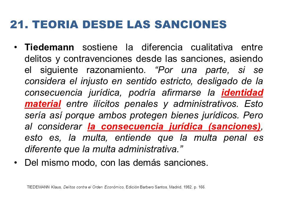 Tiedemann sostiene la diferencia cualitativa entre delitos y contravenciones desde las sanciones, asiendo el siguiente razonamiento.