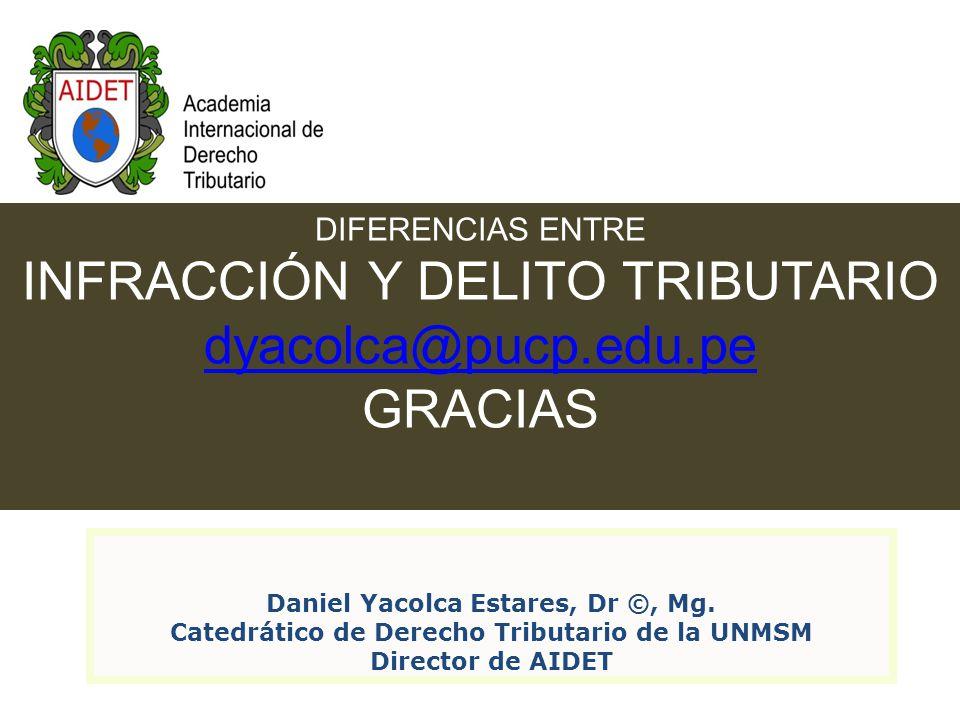 DIFERENCIAS ENTRE INFRACCIÓN Y DELITO TRIBUTARIO dyacolca@pucp.edu.pe GRACIAS Daniel Yacolca Estares, Dr ©, Mg.